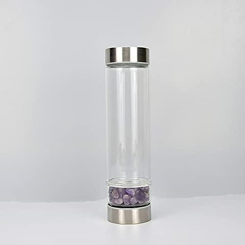 FENGCLOCK Natürliche Kristallwasserflasche Wiederverwendbare Edelstein-Wasserflasche...