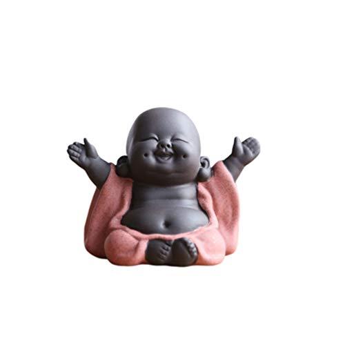 Healifty Kreative Buddha Statuen Keramik Kleine Niedliche Buddha Statue Mönch Figur...