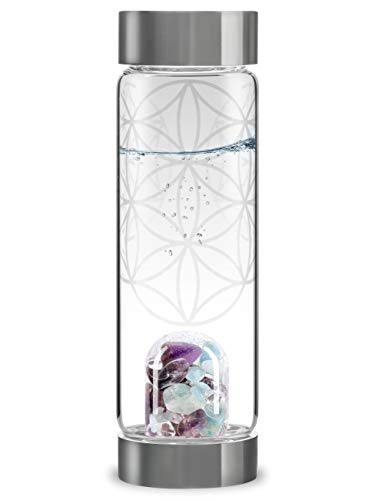 VitaJuwel ViA FLOWER OF LIFE - Wasserflasche mit Amethyst, Aquamarin, Bergkristall &...