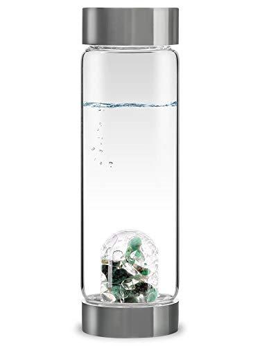 VitaJuwel ViA VITALITY - Wasserflasche mit Smaragd & Bergkristall für Regeneration...