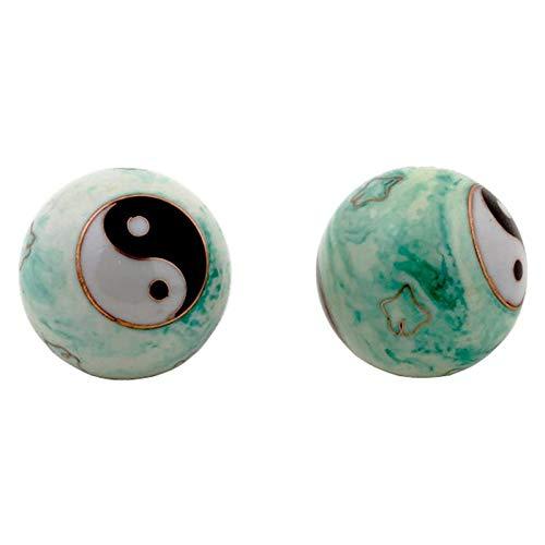 Qi Gong Kugeln Yin Yang weiß/grün marmiert - 4 cm