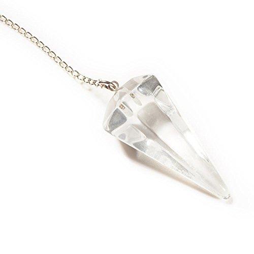 Pendel, Bergkristall, Kegel mit Facetten, inkl. Tasche aus Veloursimitat