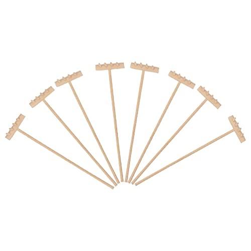 LIXBD 8 x Mini-Zen-Sandrechen aus Bambus, für Meditation, Zen, Gartengeräte, Feng...