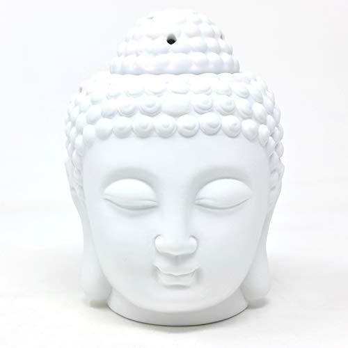 Duftlampe Buddha Kopf Weiß Keramik 14 cm