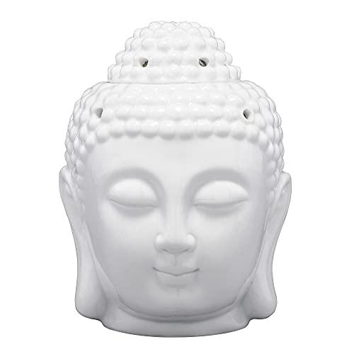 Jovivi Keramik Zen Buddha Kopf Figur Deko Duftlampe Aromatherapie Diffusor Teelicht...