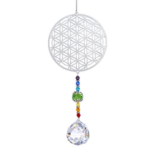H&D Kristall Regenbogen Sonnenfänger Metall Blume des Lebens Anhänger Glas Chakra...