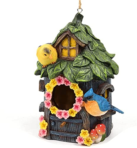 QiWangBai Harz Dekorative Statuen- Gemütliche Hütte Handgemalte Vögel 'Haus...