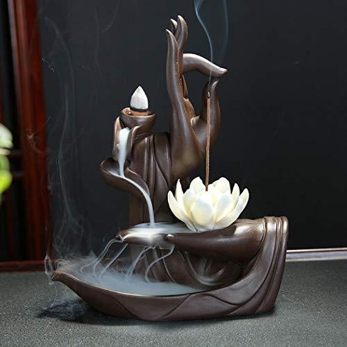Lotus Räucherstäbchen Halter, Keramik Räucherstäbchenhalter mit 10PCs Rückfluss...