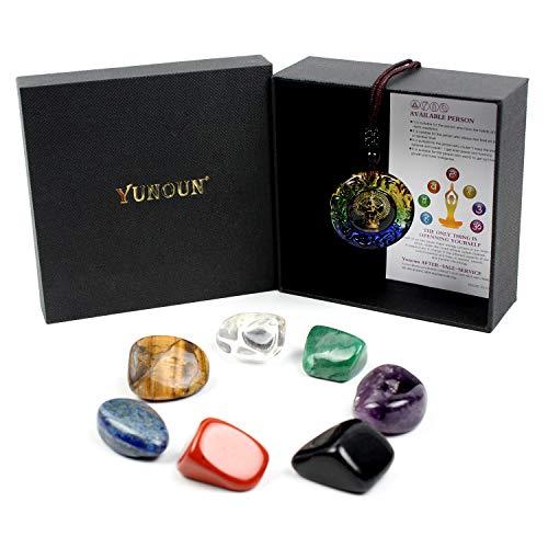 Yunoun Chakra-Steine, Heilkristalle, Kristalltherapie, Meditation, Reiki, 7-teiliges...
