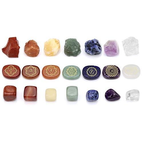 CrystalTears 7 Chakra Steine Dekor Reiki Healing Edelsteine Chakren Schmuck Kristall...