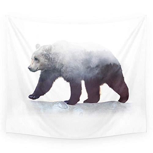 AdoDecor Wild Bear Wandteppich Hochzeitsfeier Geschenk Tagesdecke Strandtuch Yoga...