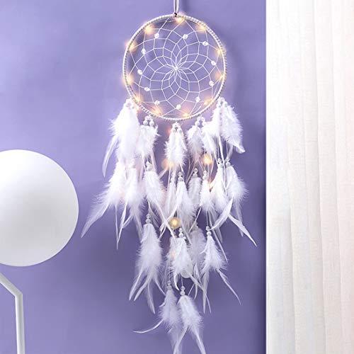 Traumfänger, Feder Dreamcatcher, Traumfänger mit LED Licht, Handgemachte Dream...