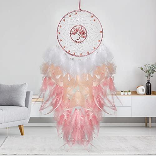 LOMOHOO Baum des Lebens Traumfänger rosa Feder Traumfänger Wanddekoration mit...