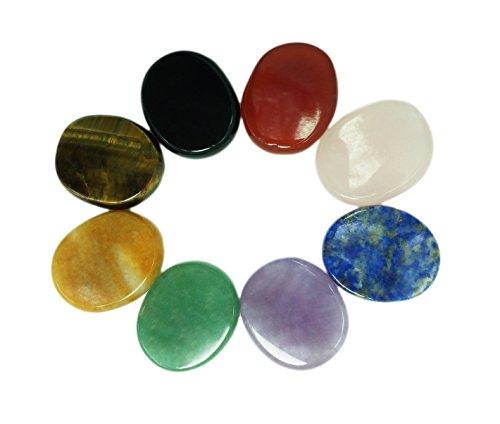 Chakra-Steine, 8-teiliges Set, ovale Form, für Kristallheilung, Meditation, Reiki...