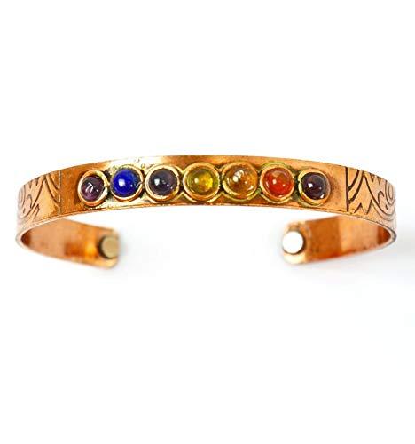 Coco Papaya Magnetisches Armband, 7 Chakren, Kupfer