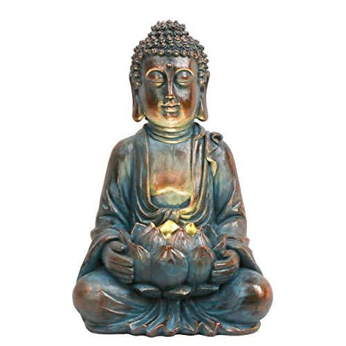 TERESA'S COLLECTIONS Buddha Figur Garten Solarleuchte Klein 32cm Harz sitzende Budda...