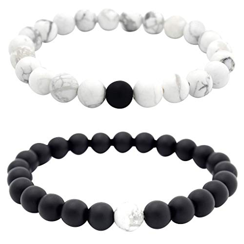 LABIUO Armband für Herren und Damen, 8 mm, Lava-Chakra-Perlen, elastisch,...