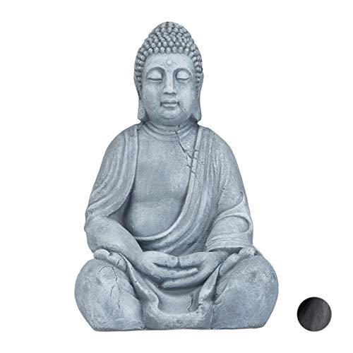 Relaxdays XL Buddha Figur sitzend, 50 cm hoch, Feng Shui, Outdoor, Garten Dekofigur,...