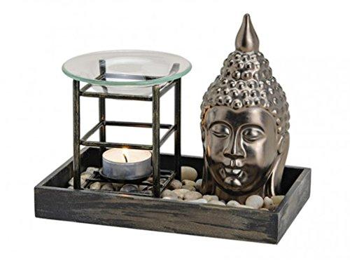 meindekoartikel Duftlampe-Set Buddha B19/T11/H12 cm aus Keramik/Holz