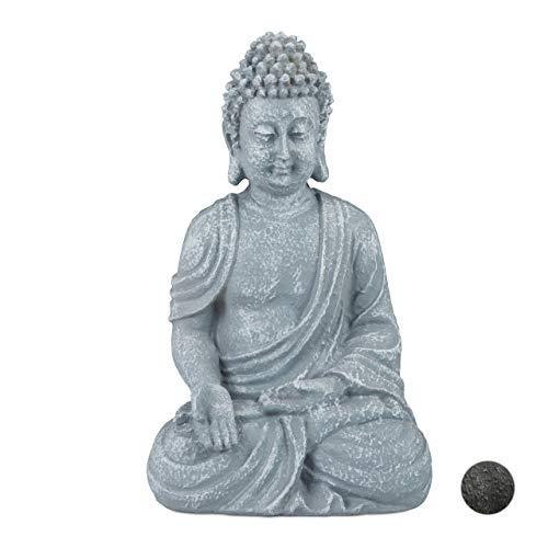 Relaxdays Buddha Figur sitzend 18cm, Dekofigur für Wohnzimmer, Bad und Garten,...