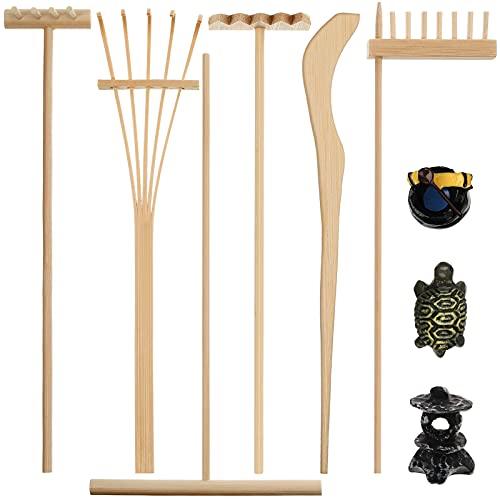 9 Stücke Mini Zen Garten Sandkasten Zen Garden Rechen Werkzeuge Desktop Bambus Zen...