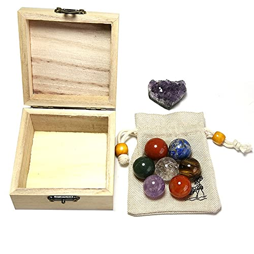 XIAOYUW 7 stücke Set Chakra natürliche Steine Reiki heilende Kristalle bälle...
