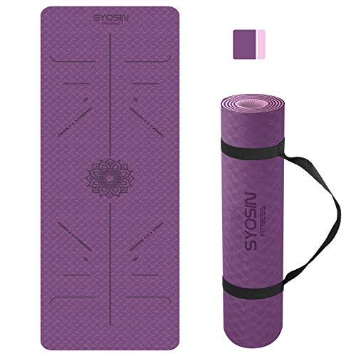 SYOSIN Yogamatte, TPE Gymnastikmatte rutschfest Fitnessmatte für Workout...