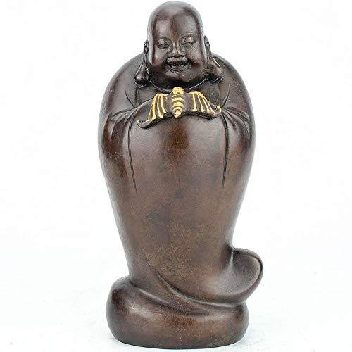 yunyu Moderne Dekoration Skulptur, Lachende Buddha-Statuen, Braunes Reines Messing...