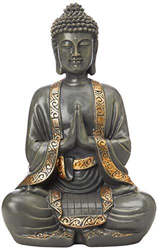 zen' Light Große Statue Buddha Vermittlung, Kunstharz, Bonze, 15 x 24 x 37.5 cm