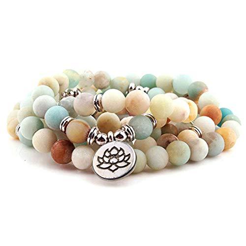 GVUSMIL 8mm 108 Mala Perlen Wickelarmband Halskette zum Yoga Charme Armband...
