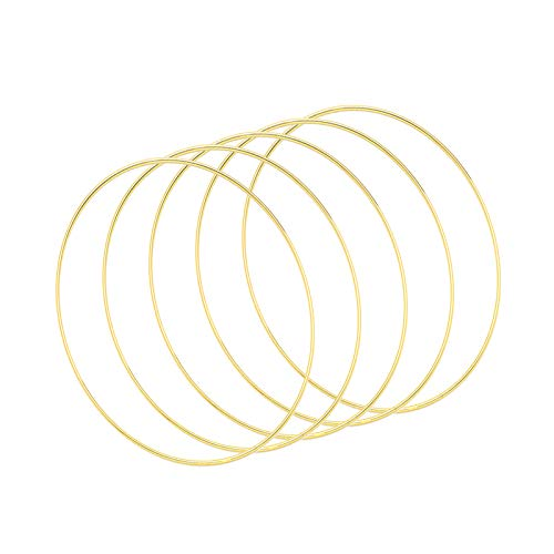 5 Stück Traumfänger Metall Gold Ringe Hoop Makramee Kreationen Ring für die...