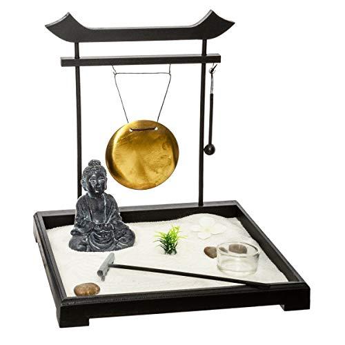 ATMOSPHERA CREATEUR D'INTERIEUR Buddhagarten Zen Set auf Holzplateau mit Zwei...