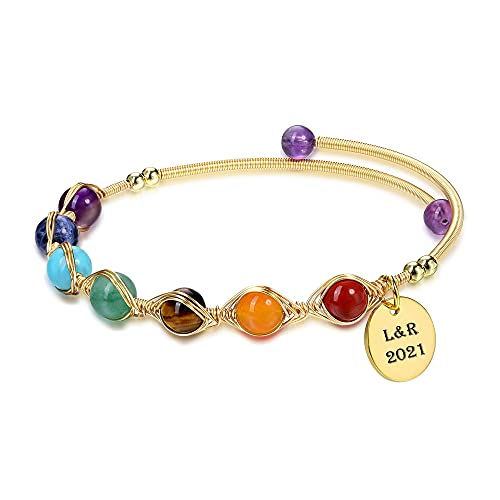CrystalTears Chakra Armband 14K Gold Wire offene Armreif mit Personalized Gratis...