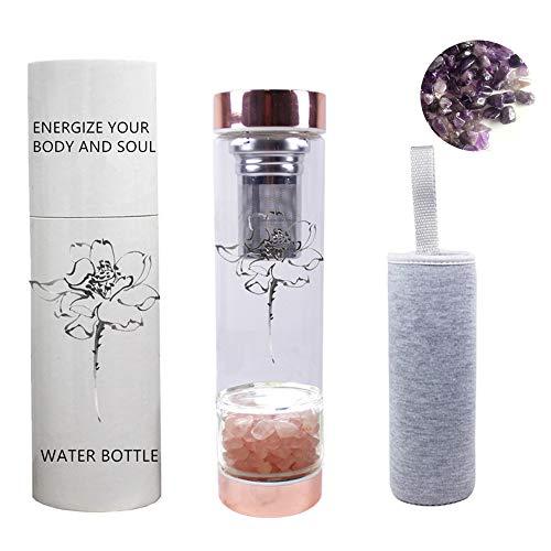 AITELEI Natürliche Edelstein Quarz Kristall Wasserflasche, Kristall Elixier...