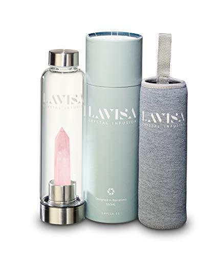 LAVISA Crystal Infusion Trinkflasche - Kristallflasche, mit Edelstein zum wechseln,...