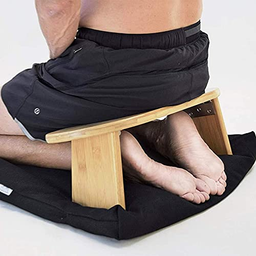 WWJ Tragbare Meditationsbank, fertiger Bambus, klappbare Beine, niedriger Sitz,...