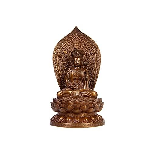 OMYLFQ Buddha Ornamente, Kupfer meditierender Buddha-Statue Figur-Ornament,...
