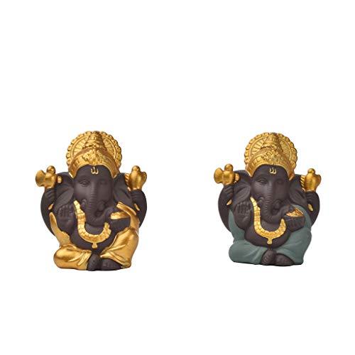 MERIGLARE 2 Stück Ganesha Statue Elefant Gott Figur Dekorationen für Desktop Regal