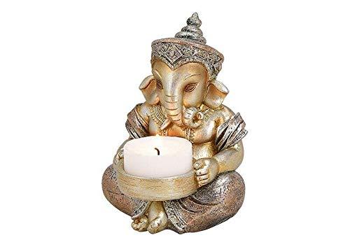 Deko Figur Ganesha mit Teelichthalter Figur sitzend 11 cm, Polystein champagner...