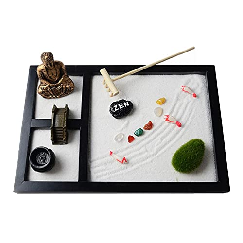 SHAOKAO Mini Zen Garden Sand Tablett Set 3 Gitter Buddha Statuen Zen Garden Set...