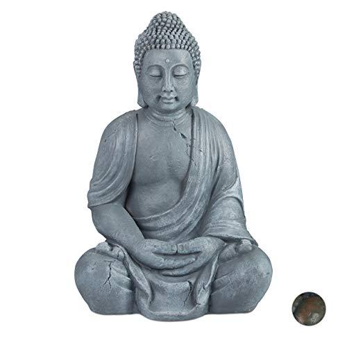 Relaxdays Buddha Figur sitzend, XL 70 cm, Gartenfigur, Dekofigur Wohnzimmer,...