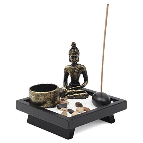 Jeteven Buddha -Statue Sitzend Chinesische Art Zen-Garten Harz Kerzenleuchter-Set...