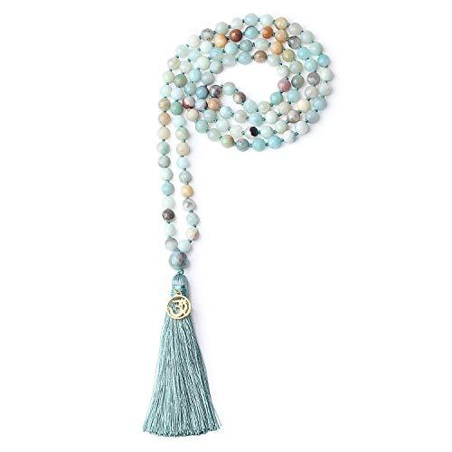 coai Unisex Handgeknüpft 108 Mala Yoga Kette Buddhistische Halskette Gebetskette aus...
