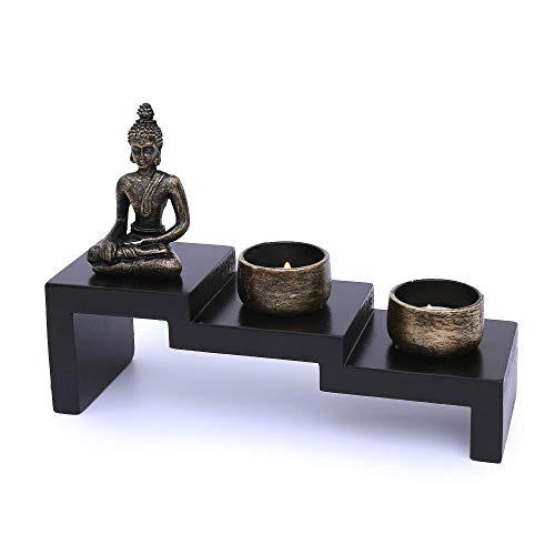 Flanacom Zen Garten mit Buddha Figur - Japanischer Miniatur Garten - Feng Shui...