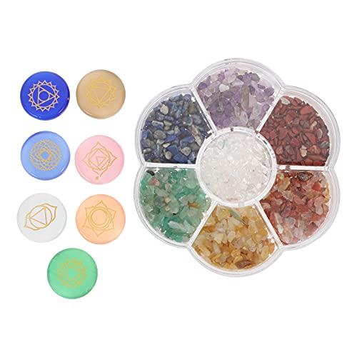 FOMIYES 1 Set Natürliche Chakra Steine mit Gravierte Symbole Healing Kristalle...