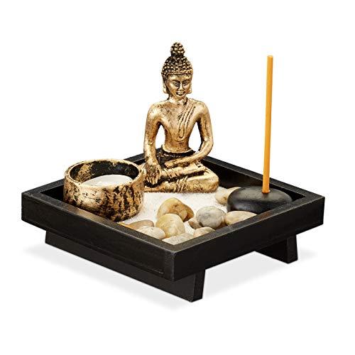 Relaxdays Zen Garten, mit Buddha, Steinen, Sand, Räucherstäbchen & Teelichthalter,...