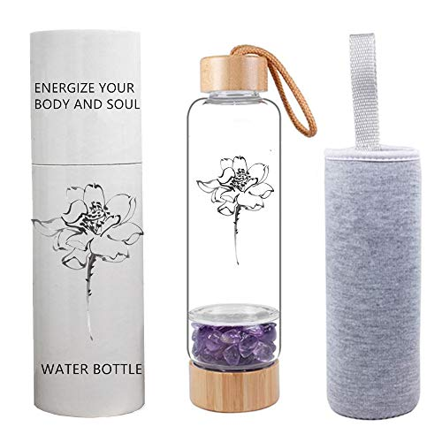 AITELEI Bambus Wellness Kristall Elixier infundiert Edelstein Wasserflasche,...