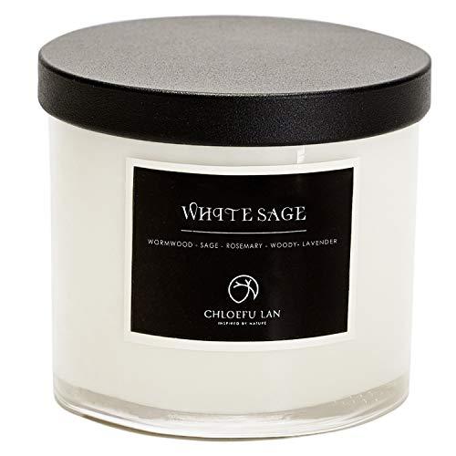 Chloefu LAN Pure White Sage Kerze für Hausenergie, Reinigung und Chakra-Heilung,...