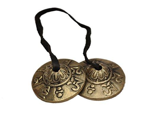 Dharma Store Tingsha, tibetische Handzimbeln, klein, verziert mit dem Mantra Om mani...