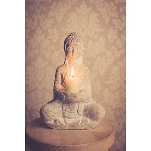Stein Buddha Figur Deko Weiß 30cm Thai Skulptur Teelicht Betende Garten Steinfigur...
